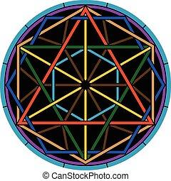 color magic hexagram. second variant. vector illustration