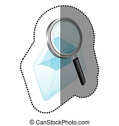 color magnifying glass with letter icon