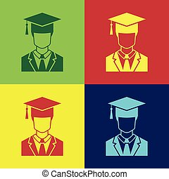 Color Male graduate student profile with gown and graduation cap icon isolated on color backgrounds. Flat design. Vector Illustration