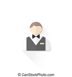vector casino service staff croupier with butterfly bow and gold badge flat design isolated illustration on white background with shadow