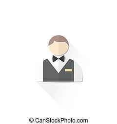 color male service staff icon illustration - vector casino...