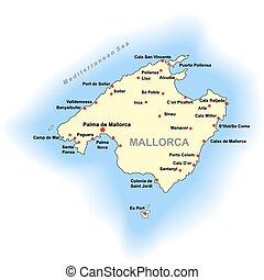 Color Mallorca map over white