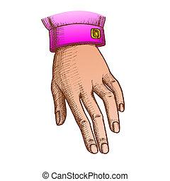 color, mano, estado, calma, tinta, niña, señal, gesto