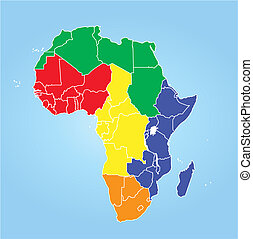 Africa regions - Color map of Africa regions