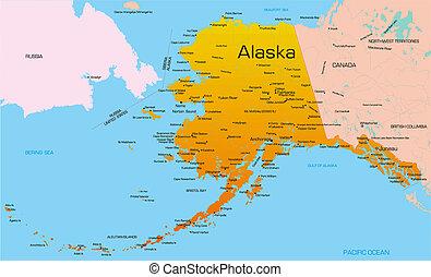 color map of Alaska state. Usa.