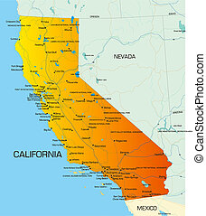 California   - color map of California  state of usa