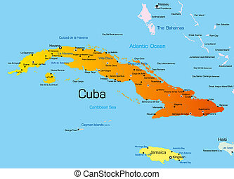 Cuba - color map of Cuba country