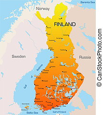 Finland  - color map of Finland country