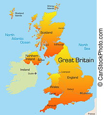 Great Britain country - color map of Great Britain country