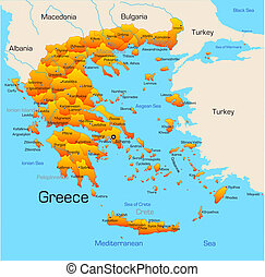 Greece - color map of Greece country