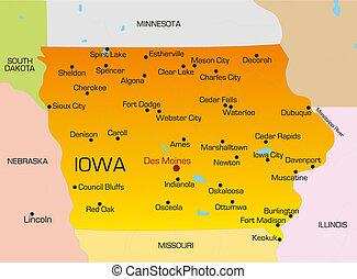 Iowa - color map of Iowa state. Usa