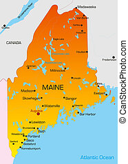 Maine - color map of Maine state. Usa