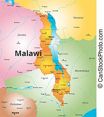 Detailed vector map of malawi and capital city lilongwe vectors