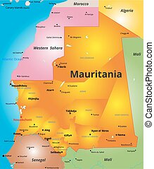 color map of Mauritania country - Vector color map of Kenya...