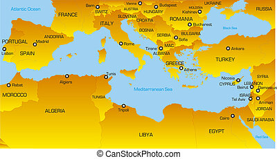 Mediterranean region - color map of Mediterranean region...