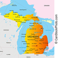 Michigan - color map of Michigan state. Usa