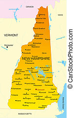 New Hampshire  - color map of New Hampshire state. Usa