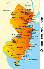 color map of New Jersey state. Usa