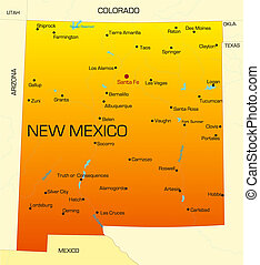 New Mexico - color map of New Mexico state. Usa