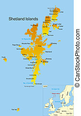 Shetland Islands  - color map of Shetland Islands