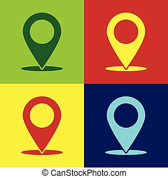 Color Map pin icon isolated on color backgrounds. Pointer symbol. Location sign. Navigation map, gps, direction, place, compass, contact, search concept. Flat design. Vector Illustration