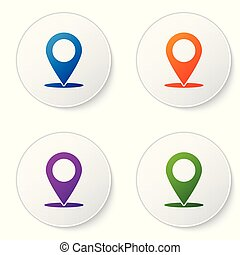 Color Map pin icon isolated on white background. Pointer symbol. Location sign. Navigation map, gps, direction, place, compass, search concept. Set color icon in circle buttons. Vector Illustration