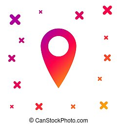 Color Map pin icon on white background. Pointer symbol. Location sign. Navigation map, gps, direction, place, compass, contact, search concept. Gradient random dynamic shapes. Vector Illustration
