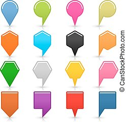Color map pin icon with shadow on white background