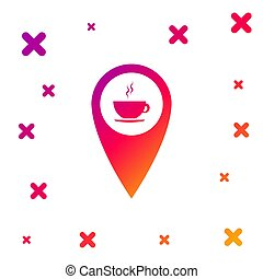 Color Map pointer with hot coffee cup icon isolated on white background. Gradient random dynamic shapes. Vector Illustration