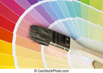 Color Map with Brush - ein Pinsel liegt auf Tafeln mit...
