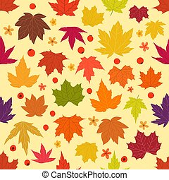 Color maple leaves vector seamless background