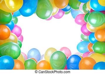 color, marco, blanco, globos, aislado