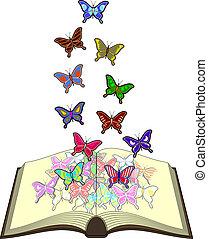 color, mariposas, libro
