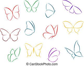 color, mariposas, siluetas