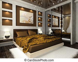 color, marrón, interior, dormitorio, cómodo