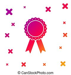 Color Medal badge with ribbons icon isolated on white background. Gradient random dynamic shapes. Vector Illustration