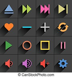 Color media control sign flat icon