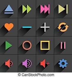 Color media control sign flat icon