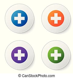Color Medical cross in circle icon isolated on white background. First aid medical symbol. Set color icon in circle buttons. Vector Illustration