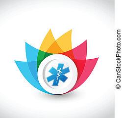 color medical flower illustration design over a white background