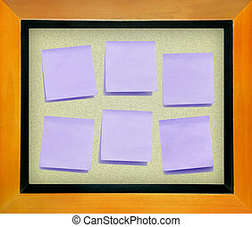 color memo paper on cork board isolated for text and background