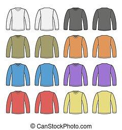 Color Men T-shirt Long Sleeved Shirts Set. Vector