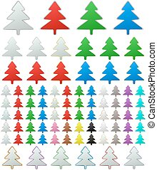 Color metallic pine tree button set