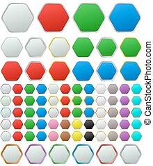 Color metallic rounded hexagon button set