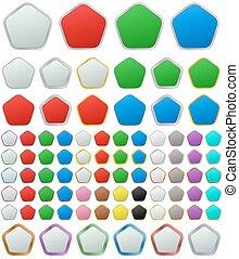 Color metallic rounded pentagon button set