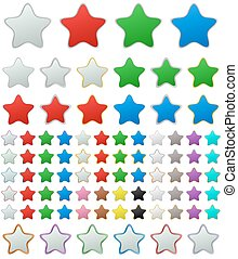 Color metallic rounded star button set
