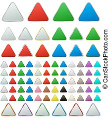 Color metallic rounded triangle button set