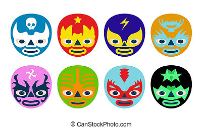 Color mexican wrestlers mask