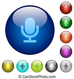 Color microphone glass buttons