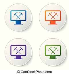 Color Mining concept with monitor and pickaxe icon isolated on white background. Blockchain technology, cryptocurrency mining, digital money market. Set icons in circle buttons. Vector Illustration